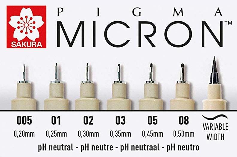 Rotuladores calibrados Sakura Pigma Micron