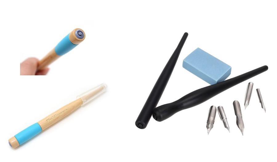 Portaplumillas para caligrafía de madera y plastico