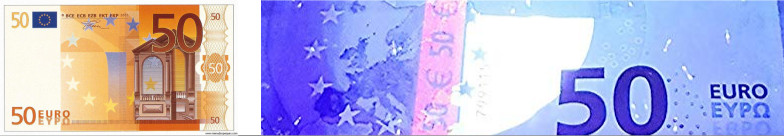 Comprobación billete falso con detector UV