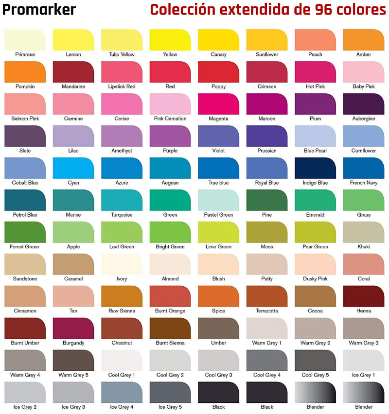 Colores colección extendida Promarker
