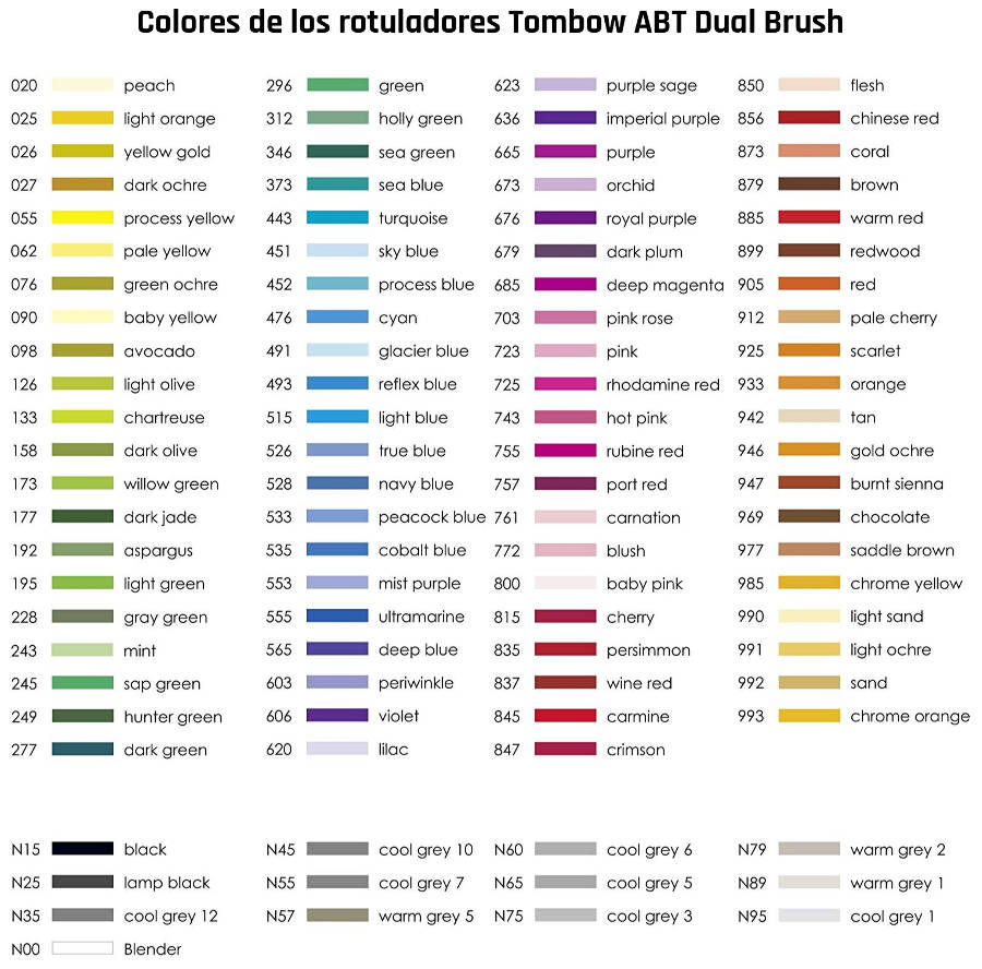 Colores Rotuladores Tombow ABT Dual Brush