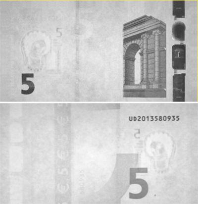 luz infrarroja detector de billetes de euro