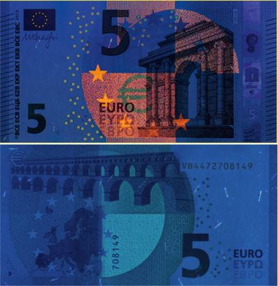 Luz ultravioleta especial del euro detector billetes
