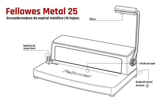 Características de la encuadernadora Fellowes Metal 25