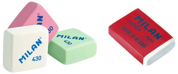 Gomas de borrar Milan 430 y Nata 624