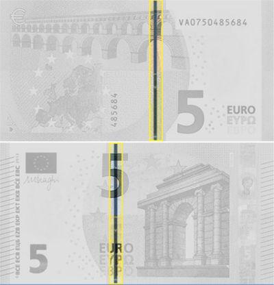 Hilo metálico de seguridad de los billetes euro