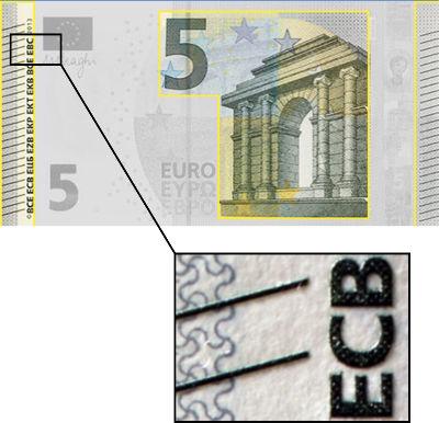 Impresión en relieve de los billetes de euro