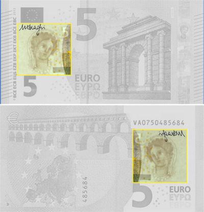 Marca de agua de los billetes de euro
