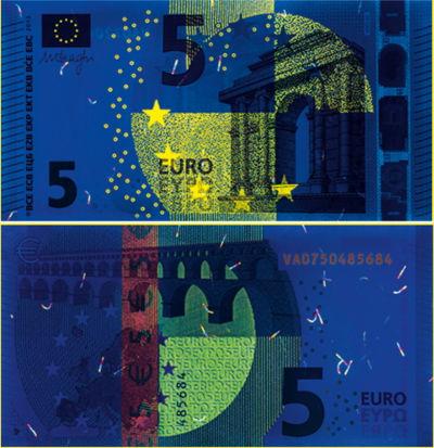 Marcas ultravioleta de los billetes de euro