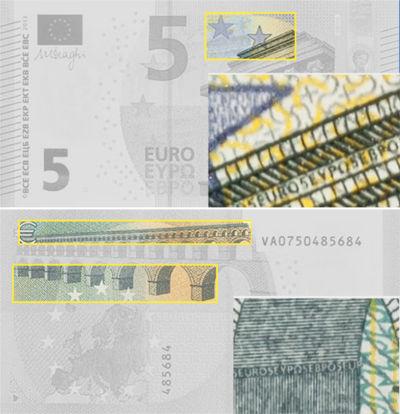 Microtexto de los billetes de euro