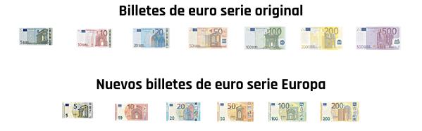 Tamaño de los billetes de euro