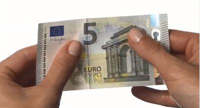 Textura antifalsificación del billete de 5 euros