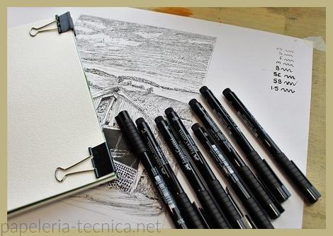 Papel especial para ilustraciones con lápiz de grafito o plumilla